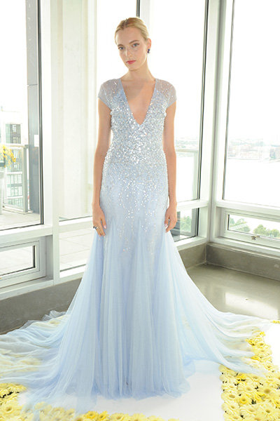 Stunning ice blue wedding dresses bridalguide for Ice blue wedding dress