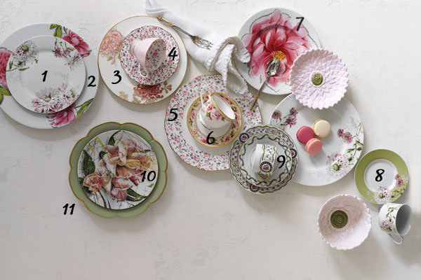 Various pretty china via Bridal Guide