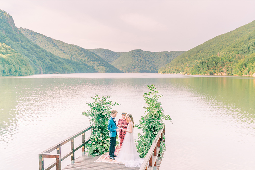 Wedding ceremony on a dock