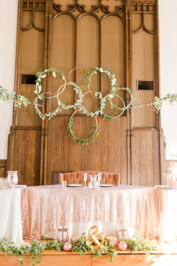 Hoop Wreath Wedding Sweetheart Table Backdrop