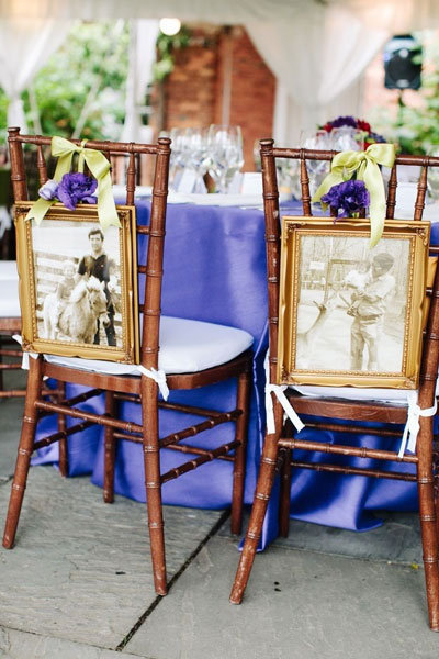 hang your baby photos from your dinner chairs