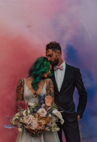 Smoke color bomb wedding photo