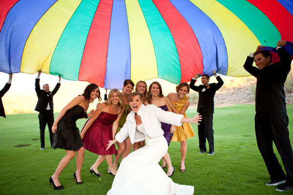 wedding party parachute