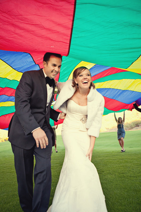 bride and groom parachute