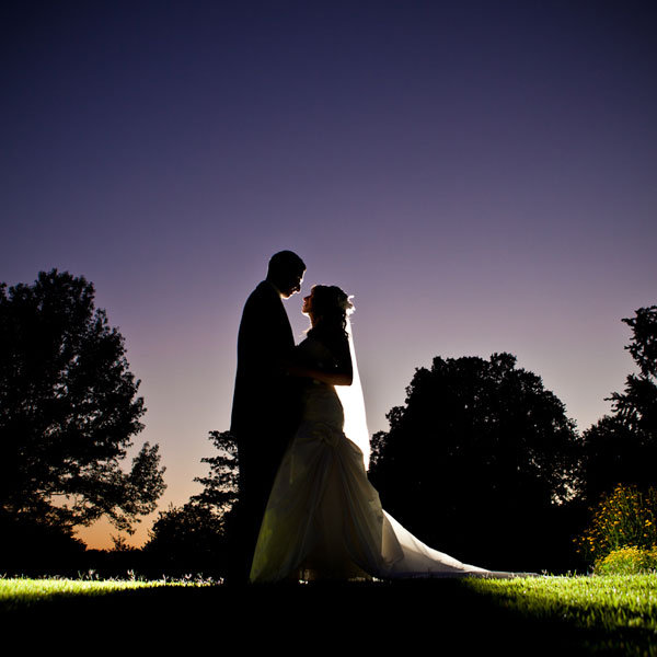 bride and groom at sundown