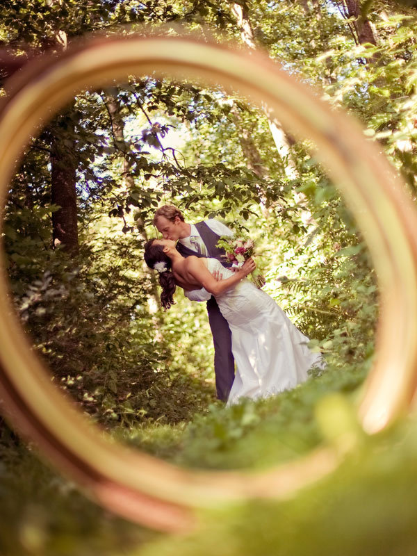 bride and groom through ring