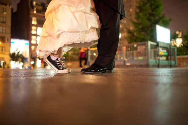 bride with sneakers