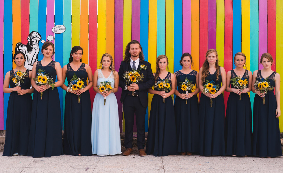 Colorful mural wedding backdrop