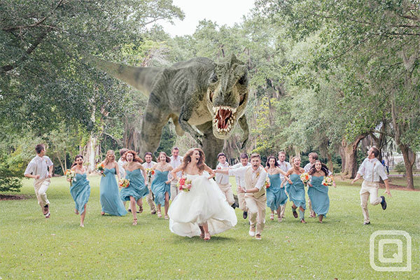 dinosaur attacks bridal party