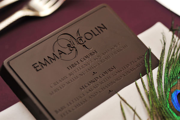 edible chocolate menu card