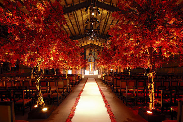 fall wedding ceremony aisle