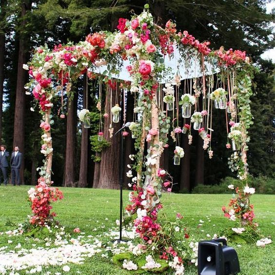 floral wedding ceremony backdrop