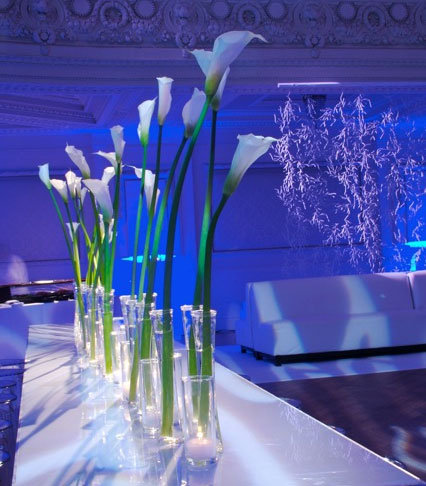 calla lily centerpieces blue uplighting