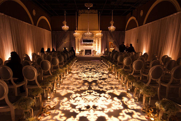 illuminated ceremony aisle