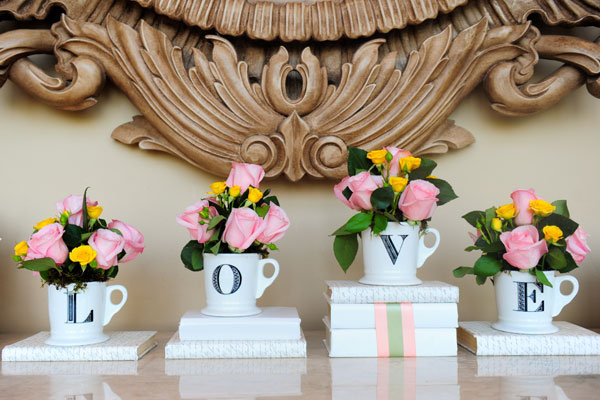 love cups wedding table decor