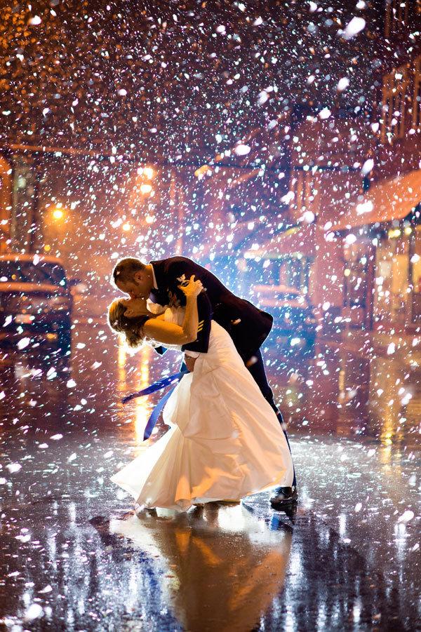 magical snowy wedding photo