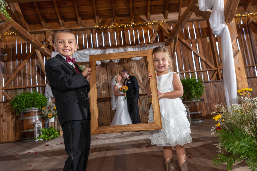 Wedding photo with flower girl and ring bearer
