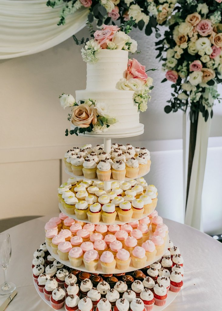 Cake and cupcake wedding tower