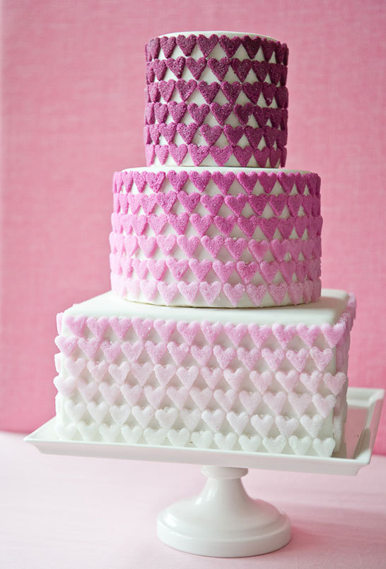 ombre sugar hearts wedding cake