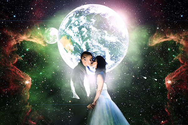 out of this world wedding photo