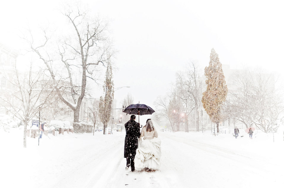 snow winter wedding