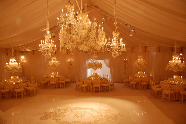 chandeliers at wedding reception