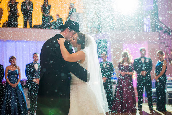 snow during the first dance