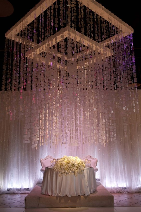 sweetheart table suspended flowers