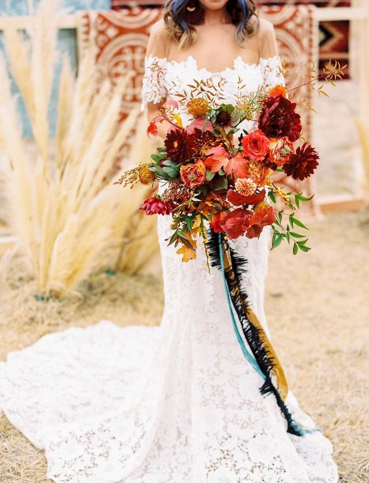 warm floral wedding bouquet