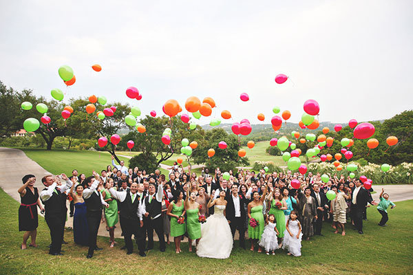wedding guests with balloons