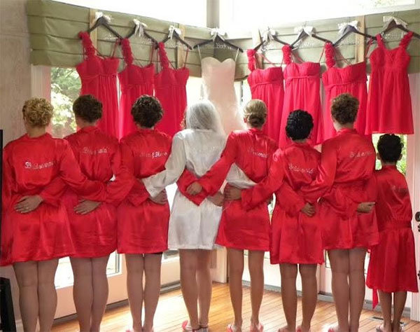 cute wedding morning photo with the bridesmaids