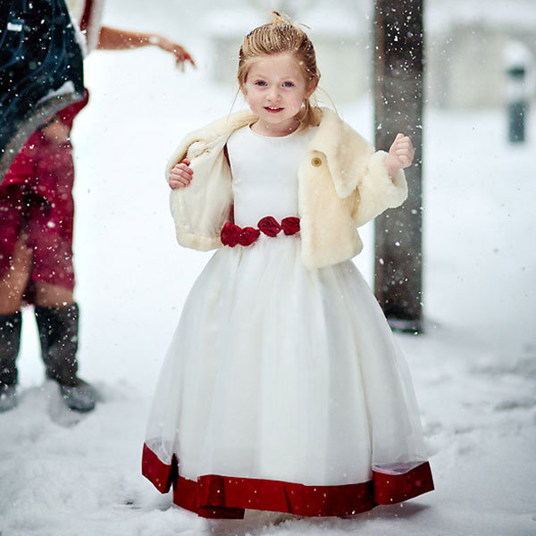 winter wedding flower girl