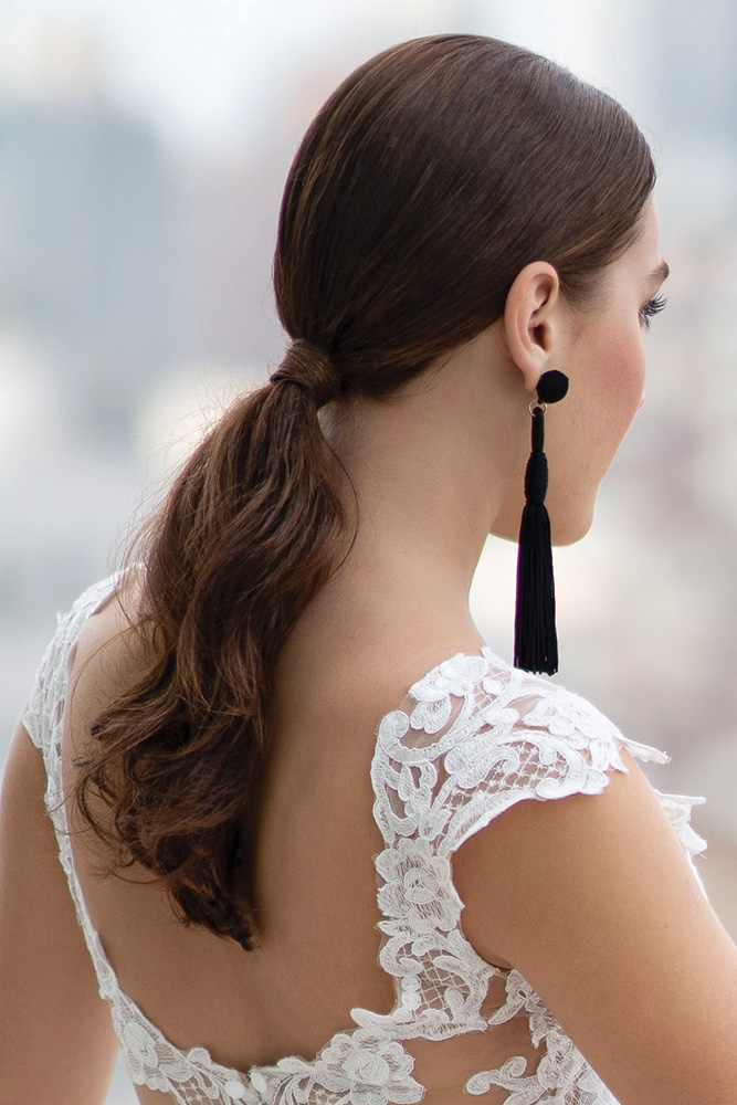 Sleek and straight wedding ponytail