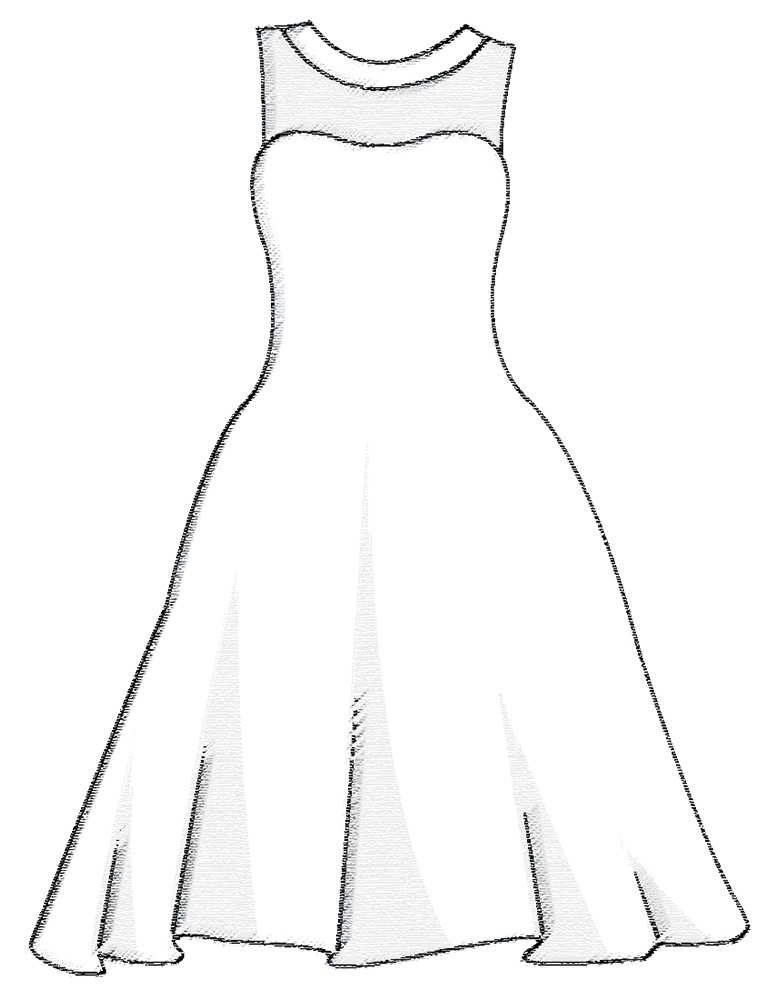 Tea length wedding gown silhouette