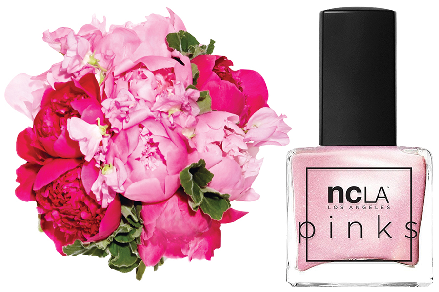 pink bouquet and nail polish