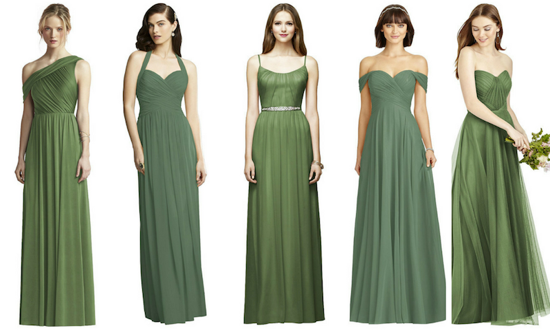 a6c934e1c From left: JY Jenny Yoo Bridesmaid Style JY502 in Clover; Dessy Collection  Style 2932 Vineyard Green; Lela Rose Style LR214 in Clover; Dessy  Collection ...
