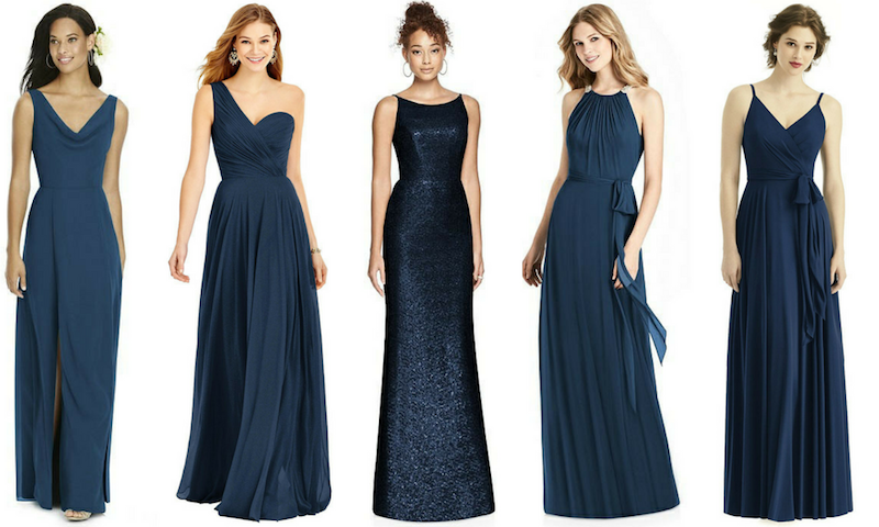 262afa4a95b From left  Social Bridesmaids Style 8180 Midnight  After Six Bridesmaid  Dress 6751 in Midnight