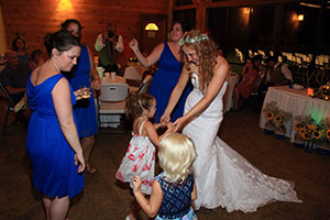 bride dancing with little girls at Smoky Mountains wedding