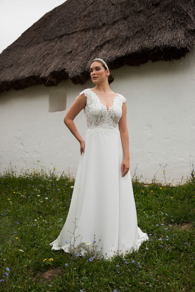 Deep V-Neck Wedding Gown