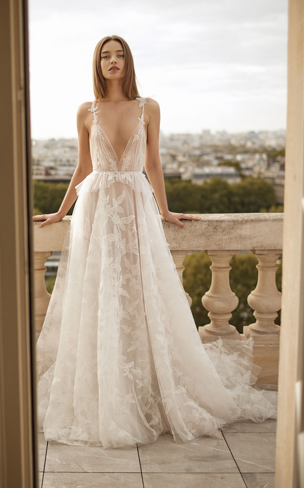 Sheer lace illusion wedding gown