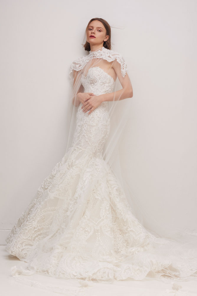 Illusion lace cape and wedding gown