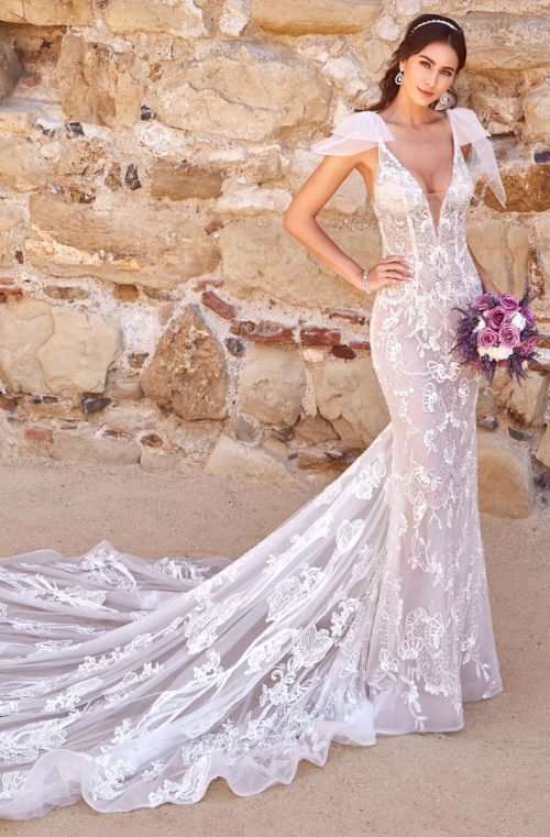 Sheer Wedding Gown with Straps