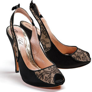 black lace slingback