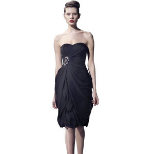 above knee strapless black dress