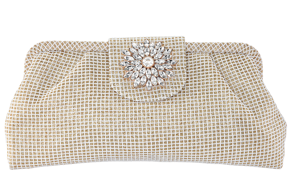 Crystal embellished metallic gold clutch by Nina