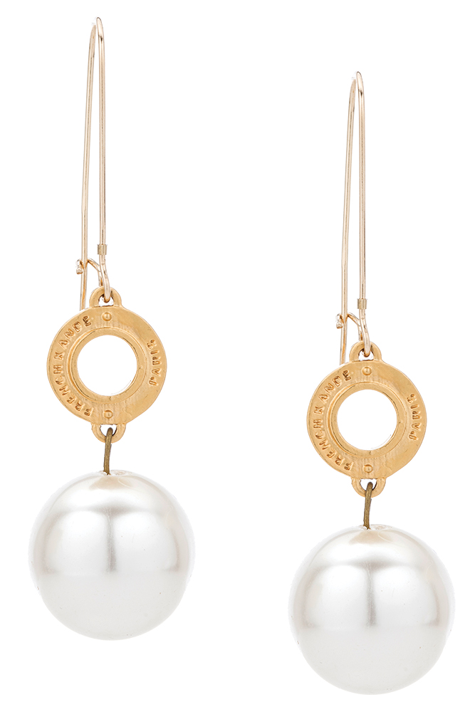 14k gold pendant and pearl drop earrings by French Kande