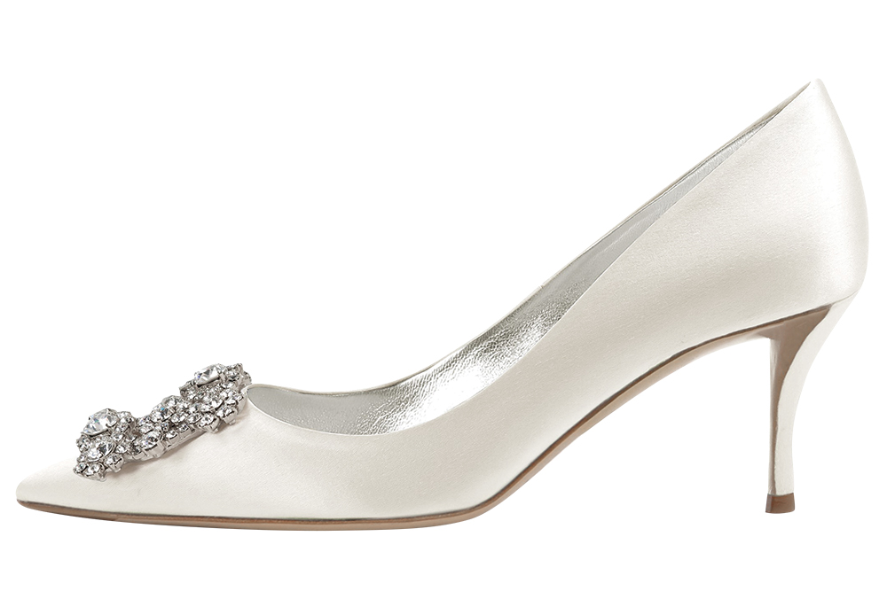 Ivory silk heel with crystal-encrusted buckle by Roger Vivier
