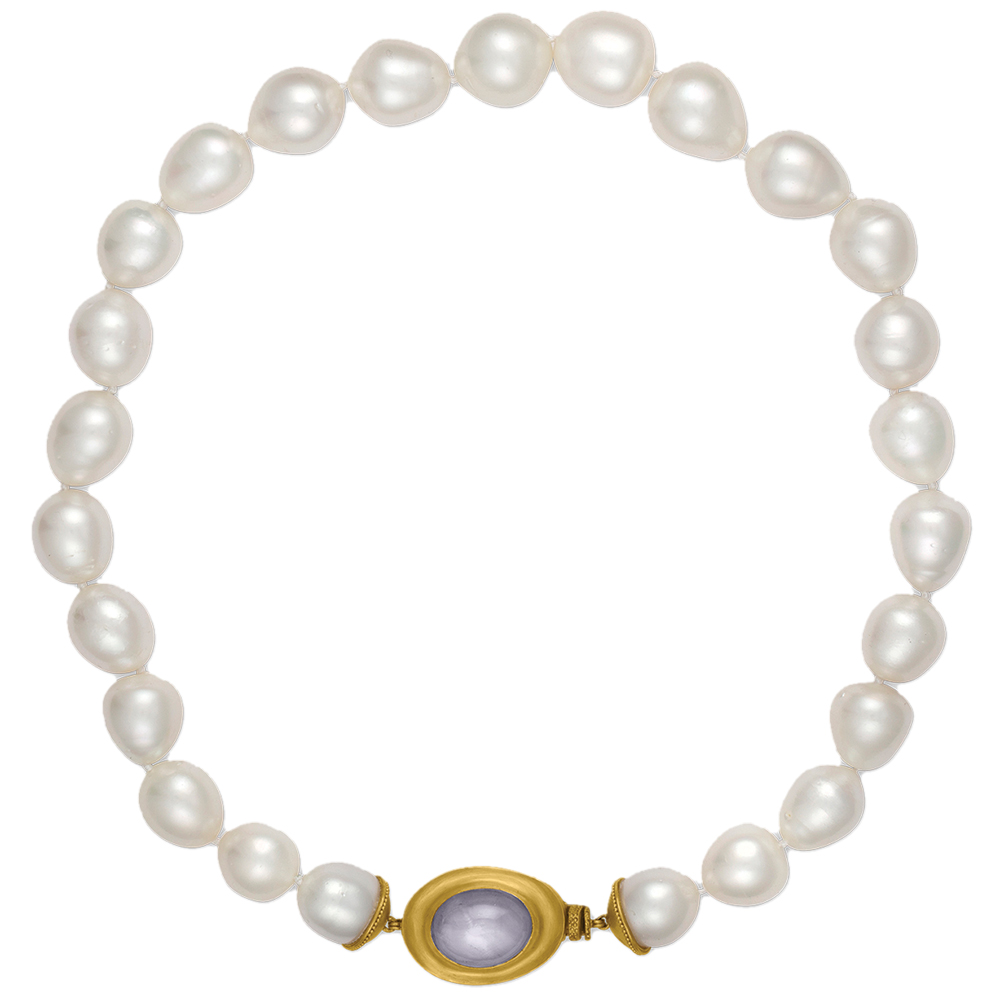 Pearl necklace with granulated sapphire stone by Prounis Jewelry