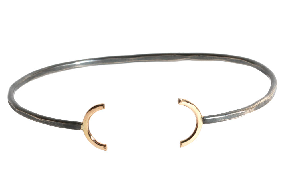 Gold and sterling silver open circle bracelet