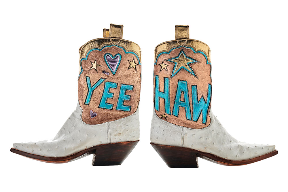 Gold metallic and white leather cowboy boots